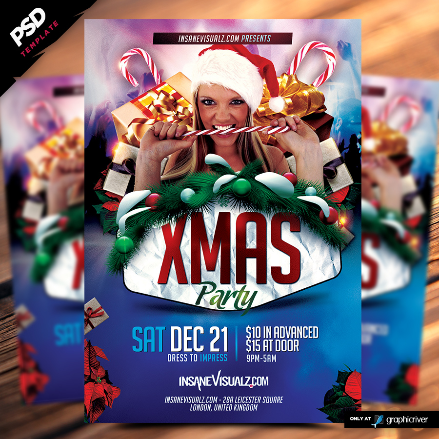 xmas party flyer template dope s xmas party flyer