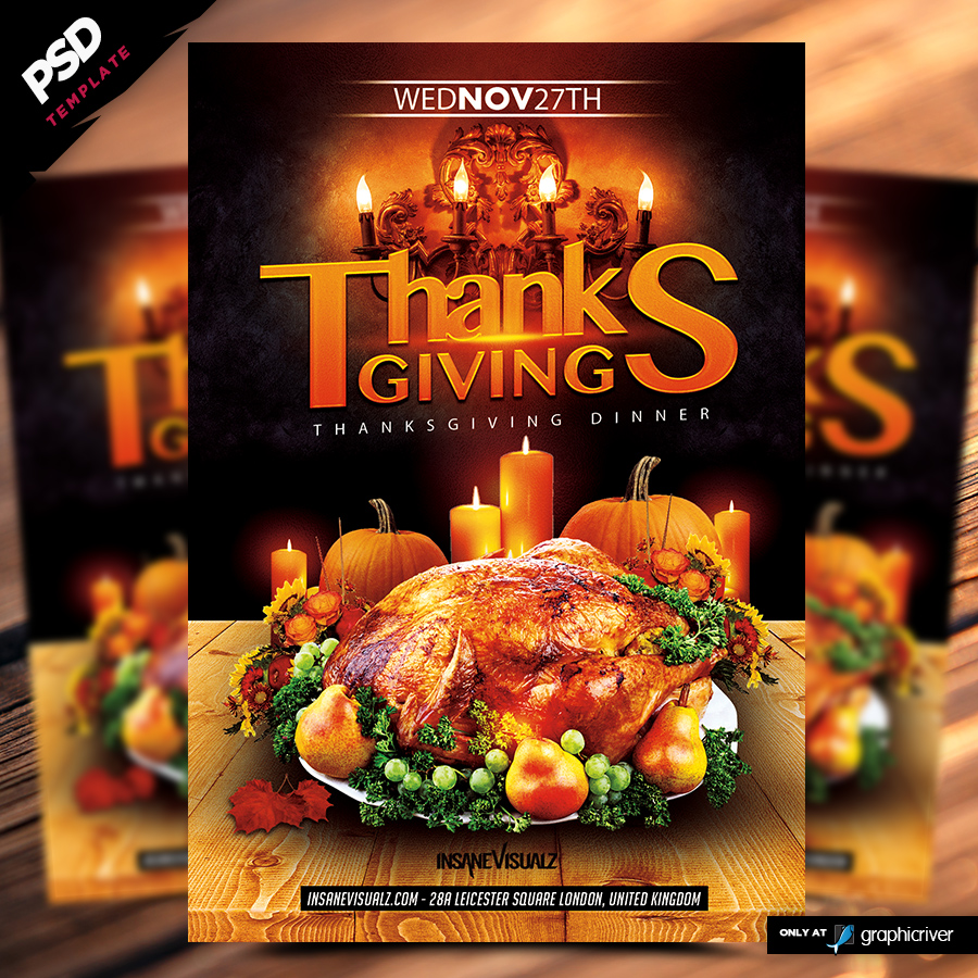 Thanksgiving 2014 Dinner Flyer Template - Dope Downloads