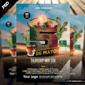 5 de Mayo Party Flyer PSD Template