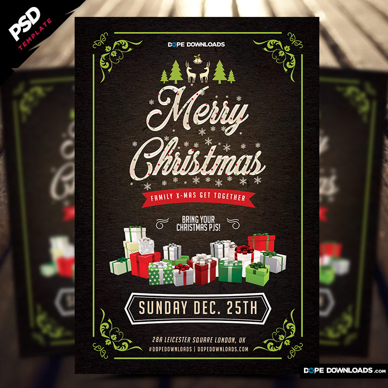 Merry Christmas Family Party Flyer