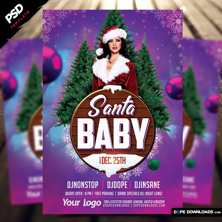 Santa Baby Christmas Flyer Template